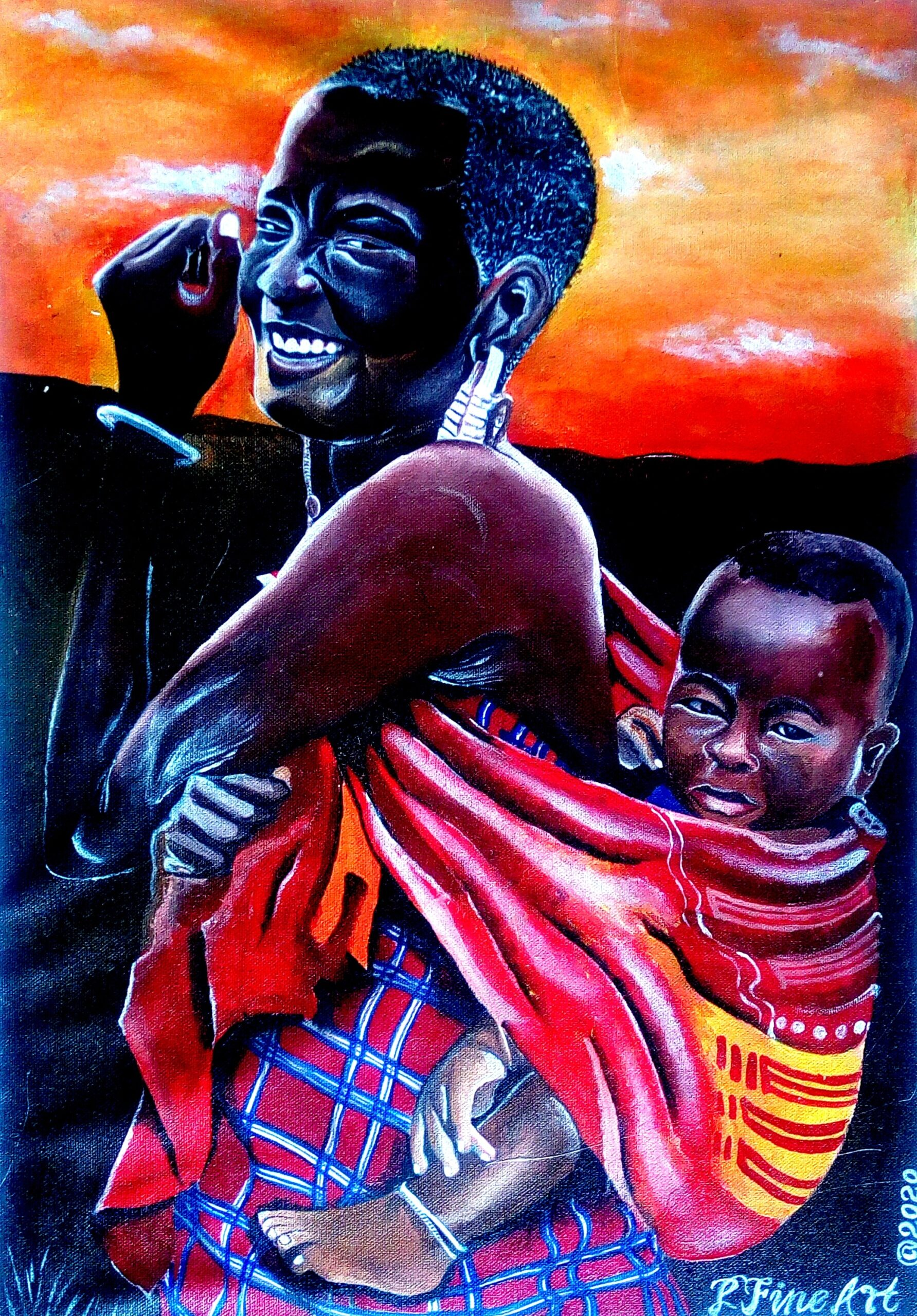 Maasai Woman Carrying a Child - African Tribes - acrylic Painting